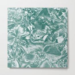 Shimmering floral damask, teal Metal Print