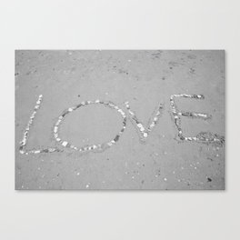 Love in the Sand - Black and White Canvas Print