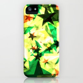 Bright glowing marsh golden stars on a light background in the projection. iPhone Case