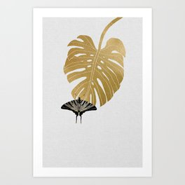 Butterfly & Monstera Art Print