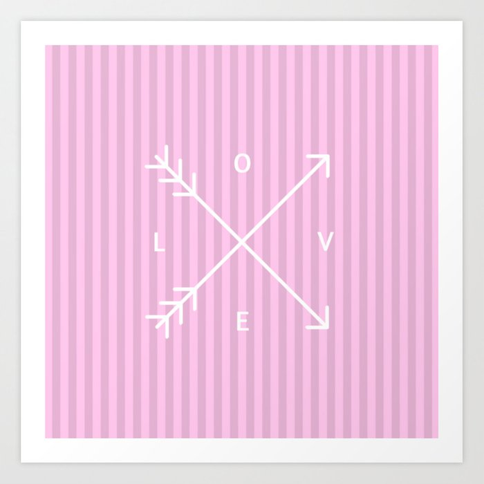 Pink Stripes Love Valentine's Day (Valentine Gift) Art Print