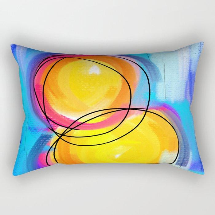 Paint abstract circle blue yellow Rectangular Pillow