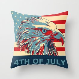 Eagle 4th Of July Throw Pillow