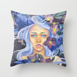 Angel or devil - Raven, heart, Christmas rose Throw Pillow