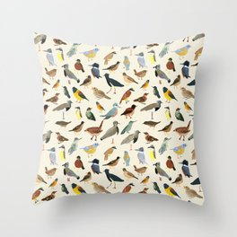 Great collection of birds illustrations  Throw Pillow