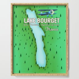 Lake Bourget Jura Mountains department of Savoie, France Map Art Print Serving Tray