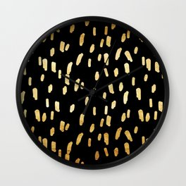 Gold Stripes on Black Wall Clock