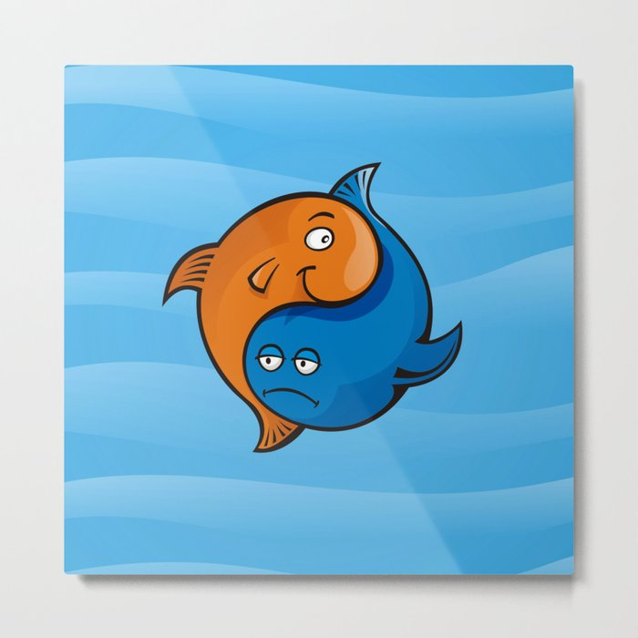 Yin Yang Fish Cartoon Metal Print