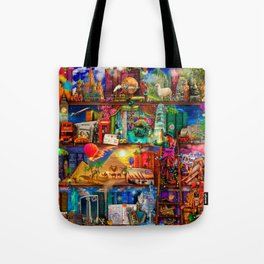 World Traveler Book Shelf Tote Bag