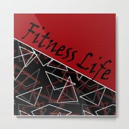 The fitness club . Red black creative pattern . Metal Print
