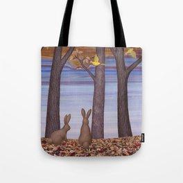 brown bunnies in autumn Tote Bag