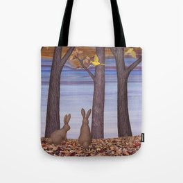 brown bunnies in autumn Tote Bag