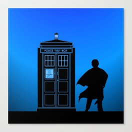 Tardis With The Third Doctor Canvas Print