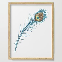 Watercolor Peacock Feather Serving Tray