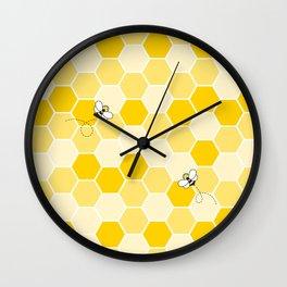 Honey Bee Pattern Wall Clock