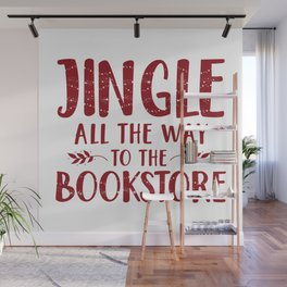 Jingle All The Way To The Bookstore (Red) Wall Mural