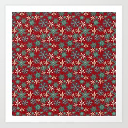 Red blue abstract Christmas decor . Snowflakes . Art Print