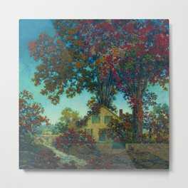 House Under Red Oaks by Maxfield Parrish Metal Print