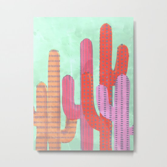 Funny Cactus Jungle Metal Print