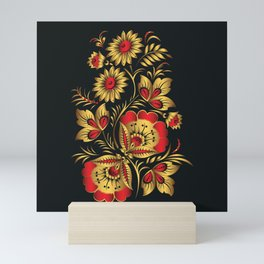 Golden russian folk Mini Art Print
