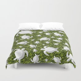 Grey turtle shapes with green nature background Duvet Cover