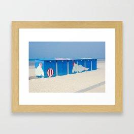 Beach cabins Framed Art Print