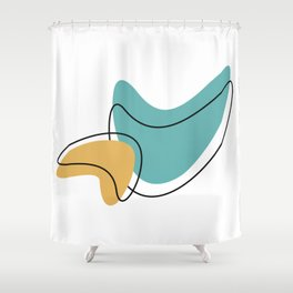 Mid Century Modern Boomerang Pattern Shapes Shower Curtain