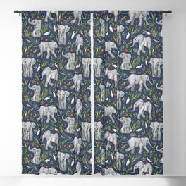 Baby Elephants and Egrets in Watercolor - navy blue Blackout Curtain