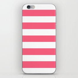 Brink pink - solid color - white stripes pattern iPhone Skin
