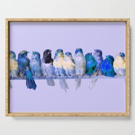 """Hector Giacomelli """"A Perch of Birds"""" (edited blue) Serving Tray"""