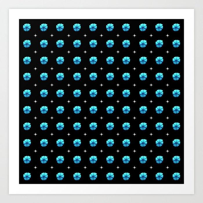 White stars blue flowers grid Art Print