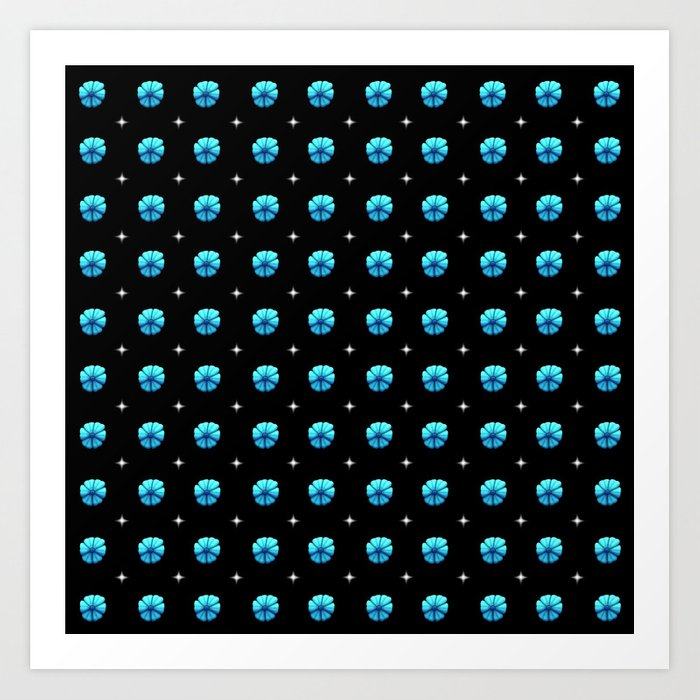 White stars blue flowers grid Art Print