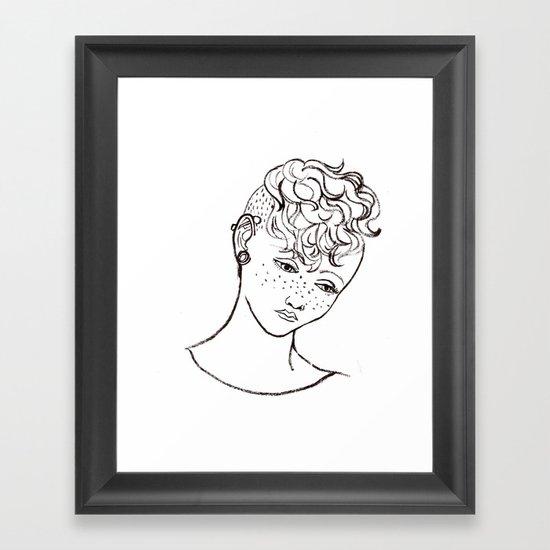 Young girl head Framed Art Print