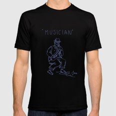 Street musician MEDIUM Black Mens Fitted Tee