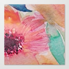 Watercolor flowers and leaves Canvas Print