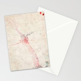 Las Cruces map New Mexico Stationery Cards