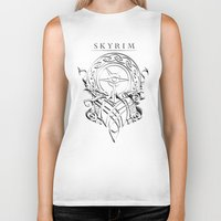 skyrim Biker Tanks featuring Skyrim by Darkside-Shirts