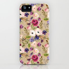 Modern blush pink purple green elegant floral leaves iPhone Case