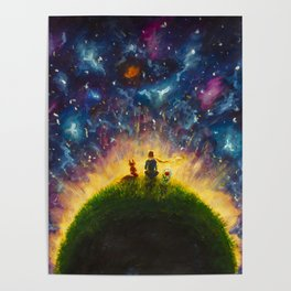The little Prince original Painting illustration on canvas by Valery Rybakow Poster