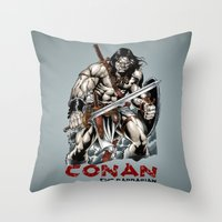 conan Throw Pillows featuring Conan by CromMorc