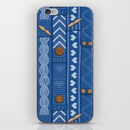 Scarves Knitted Buttoned - Blue iPhone Skin