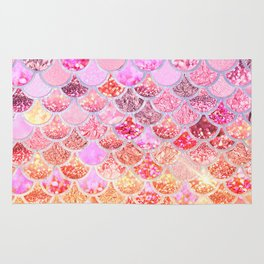 Rosegold & Gold Trendy Glitter Mermaid Scales Rug