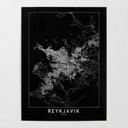 Reykjavik Black Map Poster