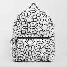 Beautiful Pattern #30 Arabic Geometry Black over White  Backpack
