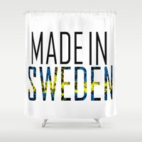 sweden Shower Curtains featuring Made In Sweden by VirgoSpice