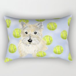 Miss Caroline the Cairn Terrier is Obsessed About Fetching Tennis Balls Rectangular Pillow