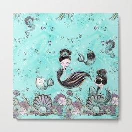 Audrey Mermaid Pattern 10 Metal Print