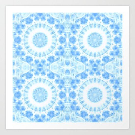 Peaceful blue mandala Art Print