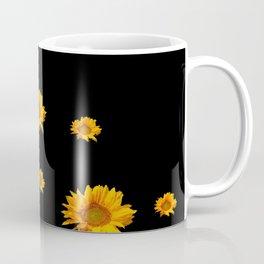 RAINING GOLDEN YELLOW SUNFLOWERS BLACK COLOR Coffee Mug