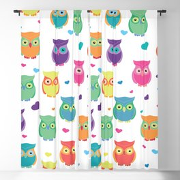 Rainbow Owl Cuties Blackout Curtain